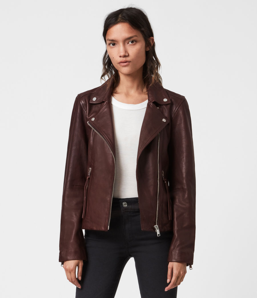 Womens Dalby Leather Biker Jacket (oxblood_brown) - Image 3