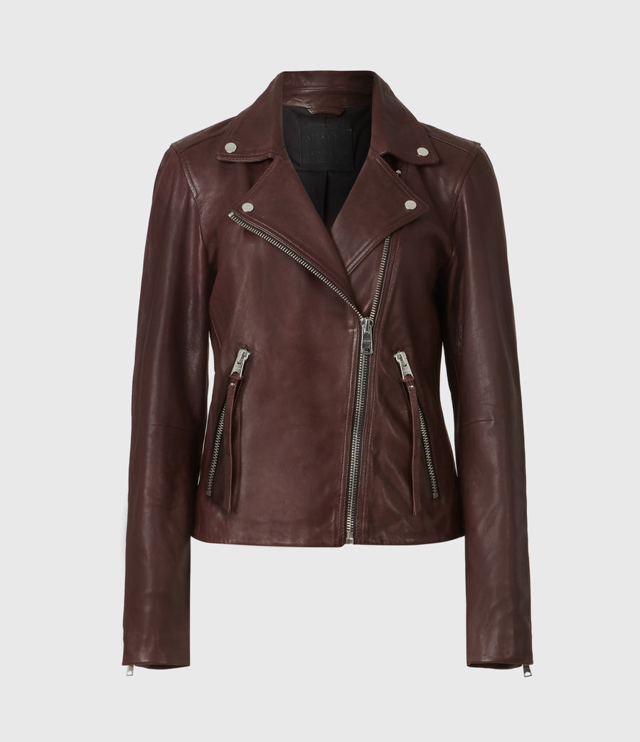 Womens Dalby Leather Biker Jacket (oxblood_brown) - Image 2