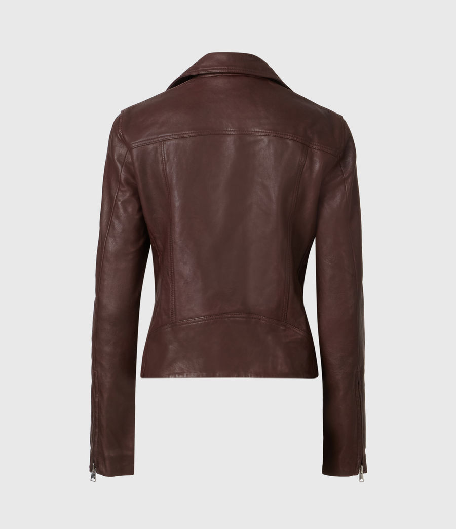 Women's Dalby Leather Biker Jacket (oxblood_brown) - Image 5