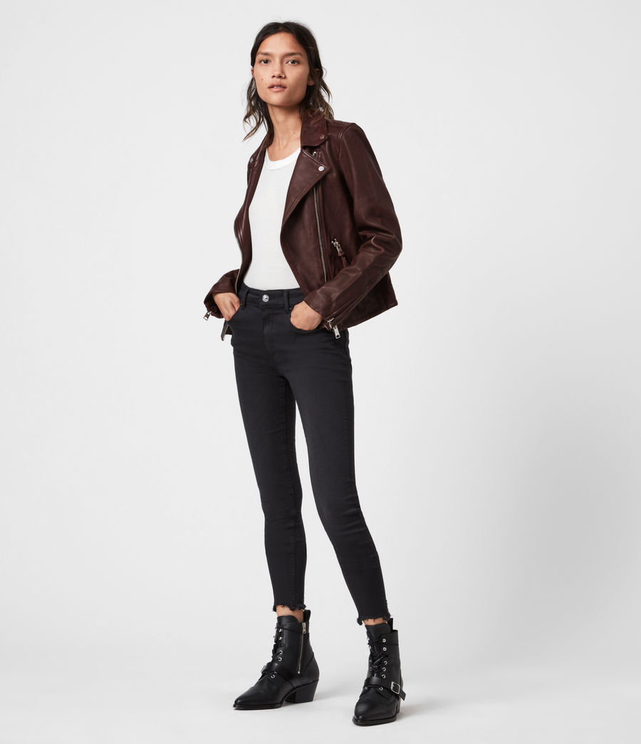 Women's Dalby Leather Biker Jacket (oxblood_brown) - Image 6