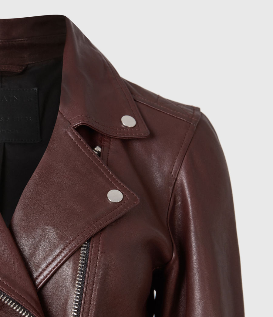 Womens Dalby Leather Biker Jacket (oxblood_brown) - Image 5