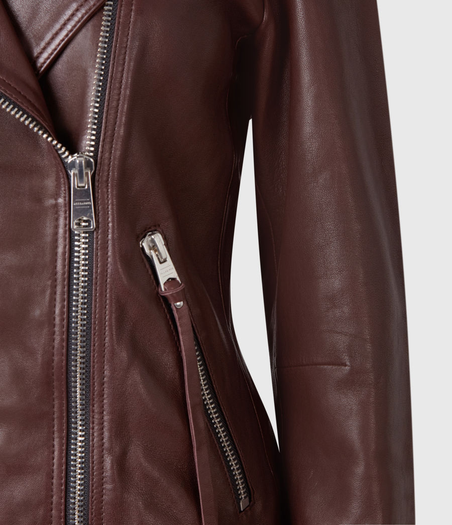 Womens Dalby Leather Biker Jacket (oxblood_brown) - Image 6