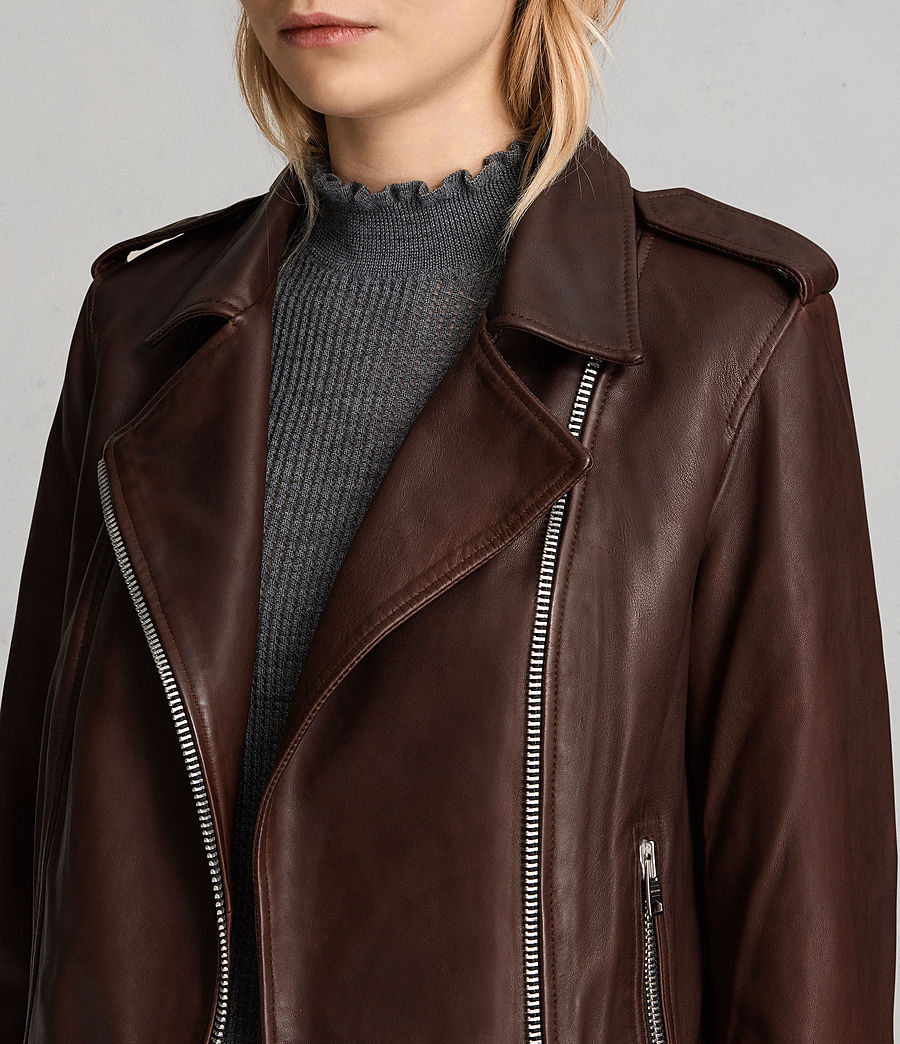 Women's Coniston Leather Biker Jacket (oxblood_red) - Image 3