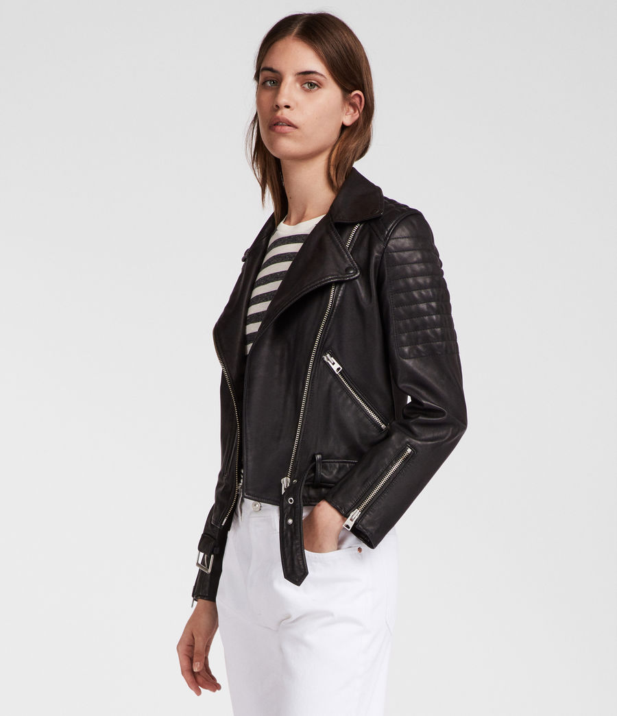 Women's Quilted Balfern Leather Biker Jacket (black) - Image 3