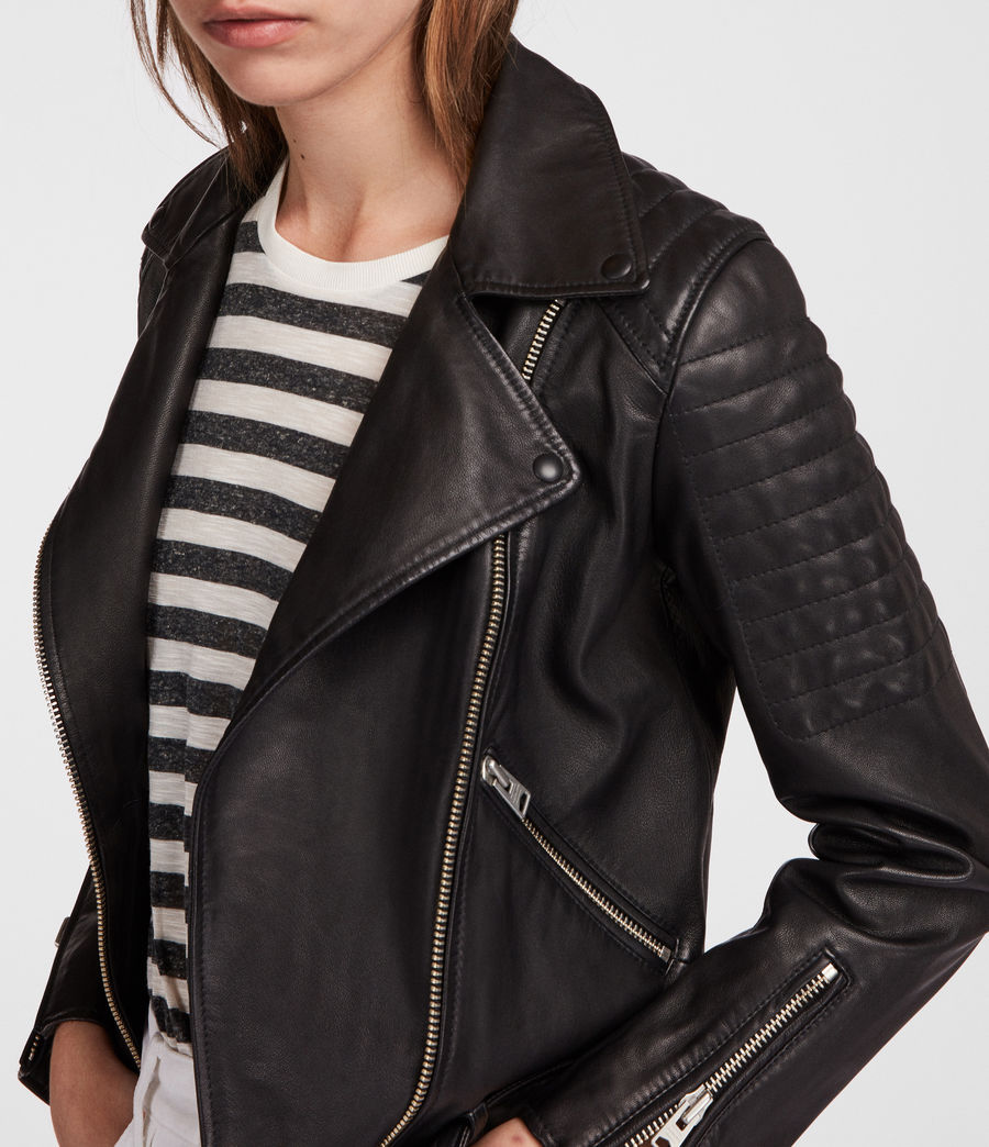Women's Quilted Balfern Leather Biker Jacket (black) - Image 4