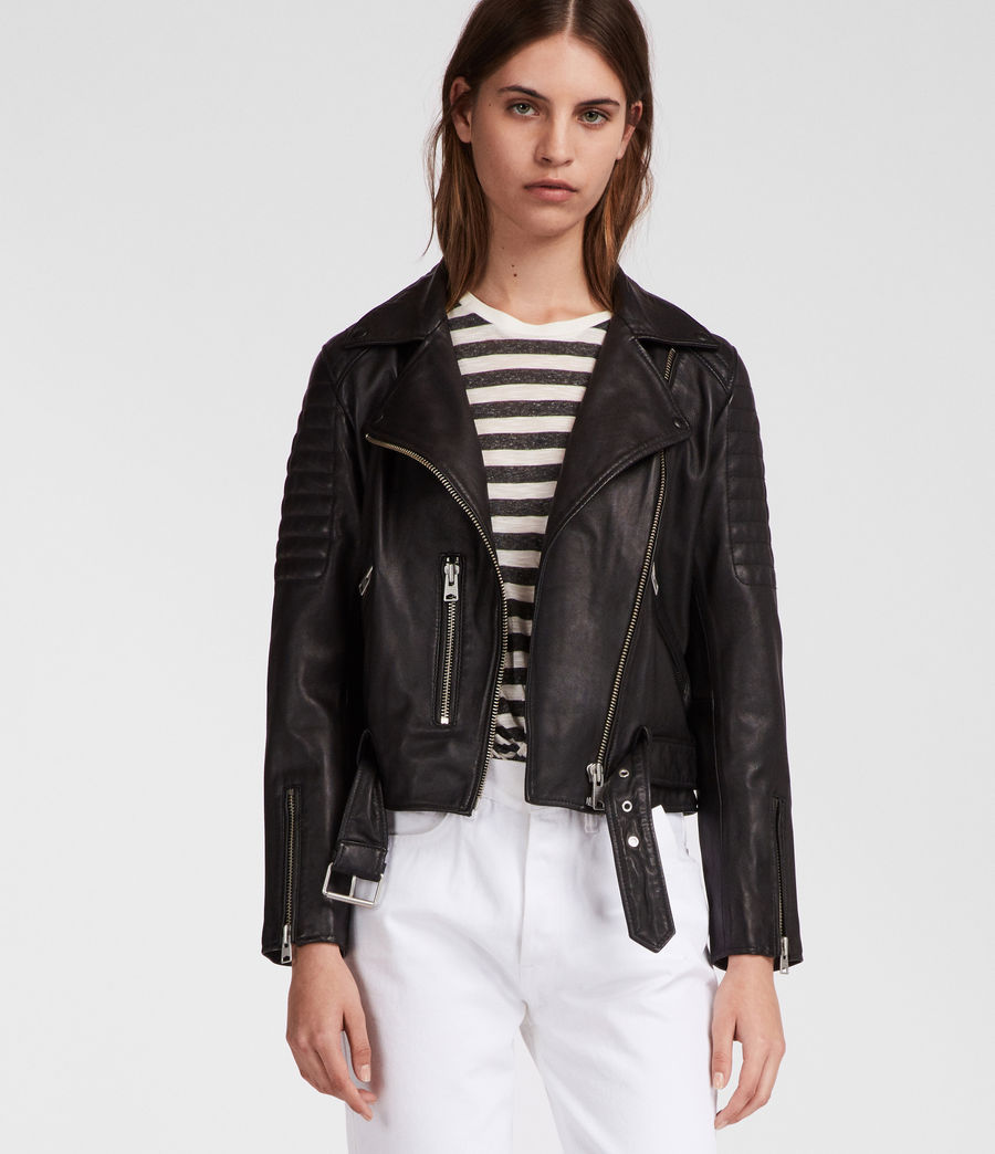 Women's Quilted Balfern Leather Biker Jacket (black) - Image 5