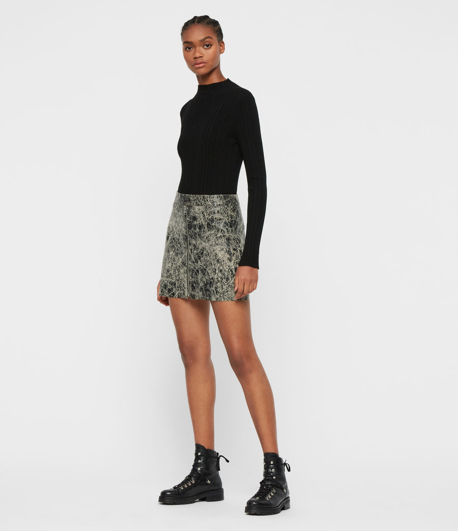 Mujer Lena Rift Leather Skirt (black_white) - Image 1