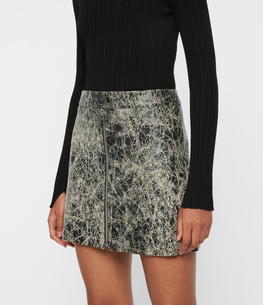 Mujer Lena Rift Leather Skirt (black_white) - Image 2