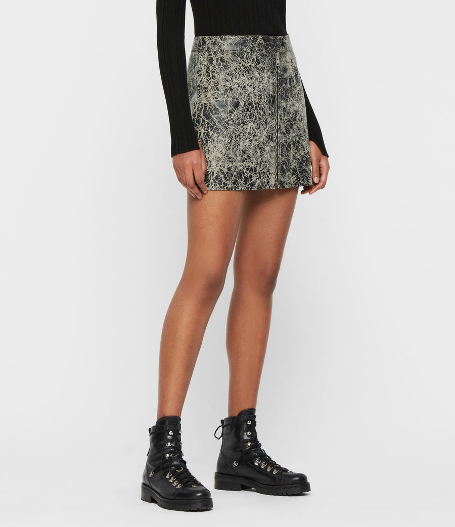 Mujer Lena Rift Leather Skirt (black_white) - Image 3