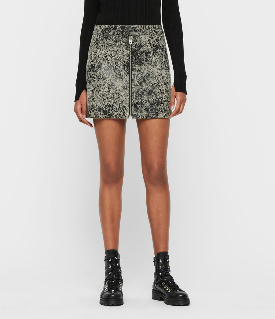 Mujer Lena Rift Leather Skirt (black_white) - Image 4