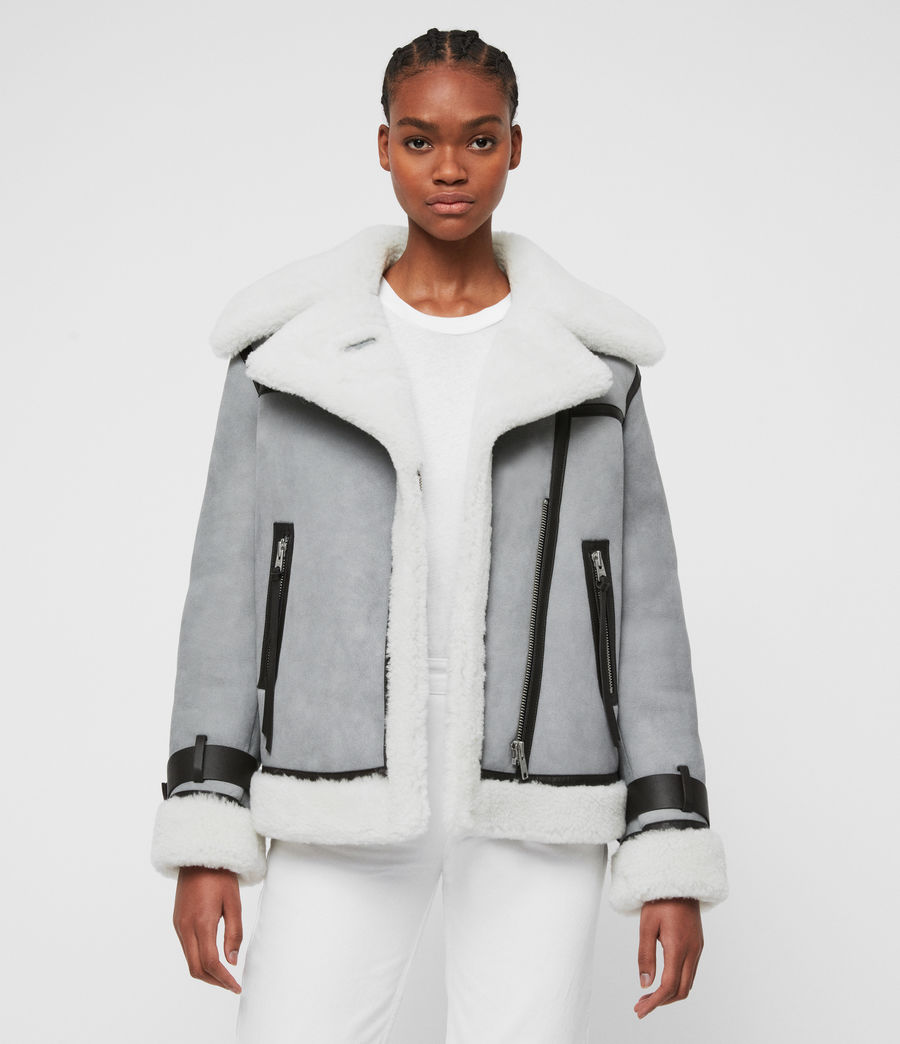 Womens Priya Shearling Biker Jacket (duckegg_blue_white) - Image 1