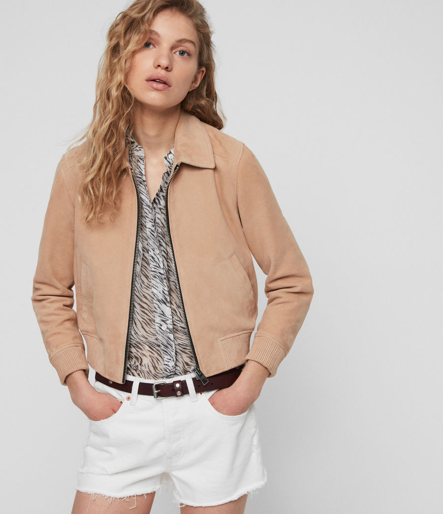 Womens Azari Suede Bomber Jacket (honey_brown) - Image 1