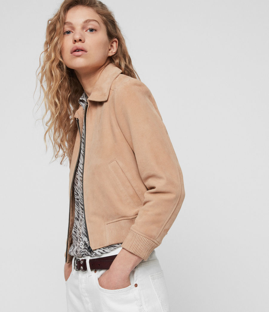 Womens Azari Suede Bomber Jacket (honey_brown) - Image 2
