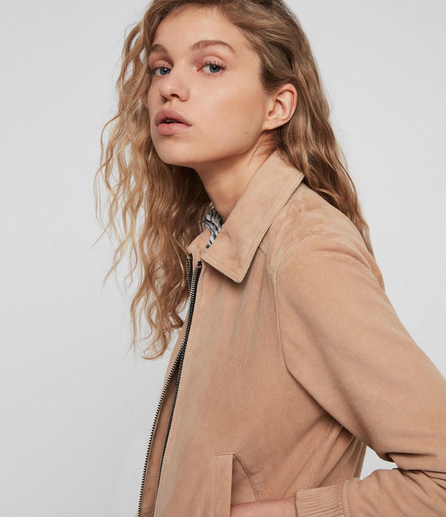 Womens Azari Suede Bomber Jacket (honey_brown) - Image 4