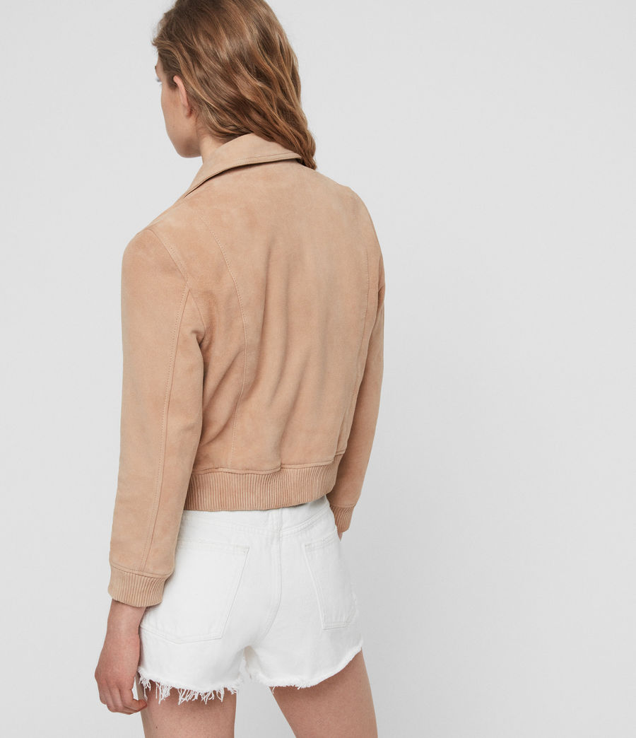 Womens Azari Suede Bomber Jacket (honey_brown) - Image 6