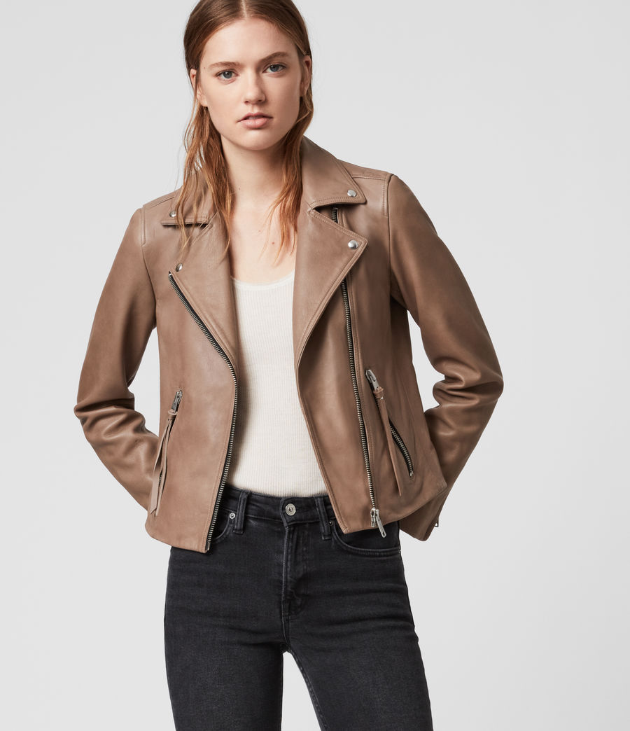 Womens Dalby Leather Biker Jacket (vintage_rose_pink) - Image 1