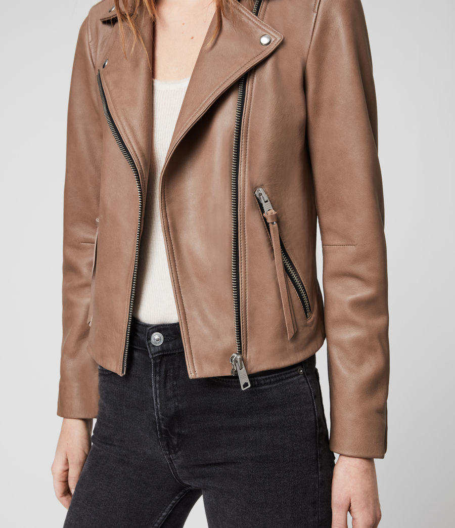 Womens Dalby Leather Biker Jacket (stone) - Image 3