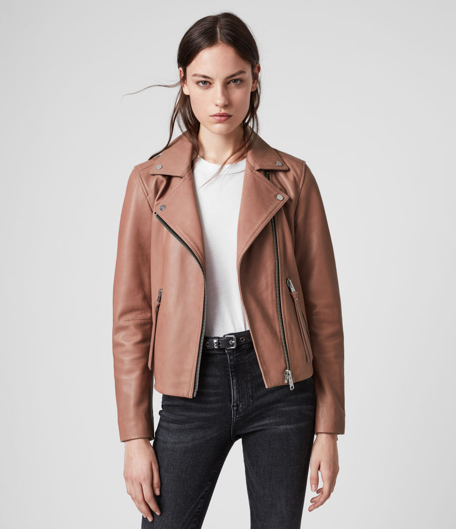 Womens Dalby Leather Biker Jacket (stone) - Image 1