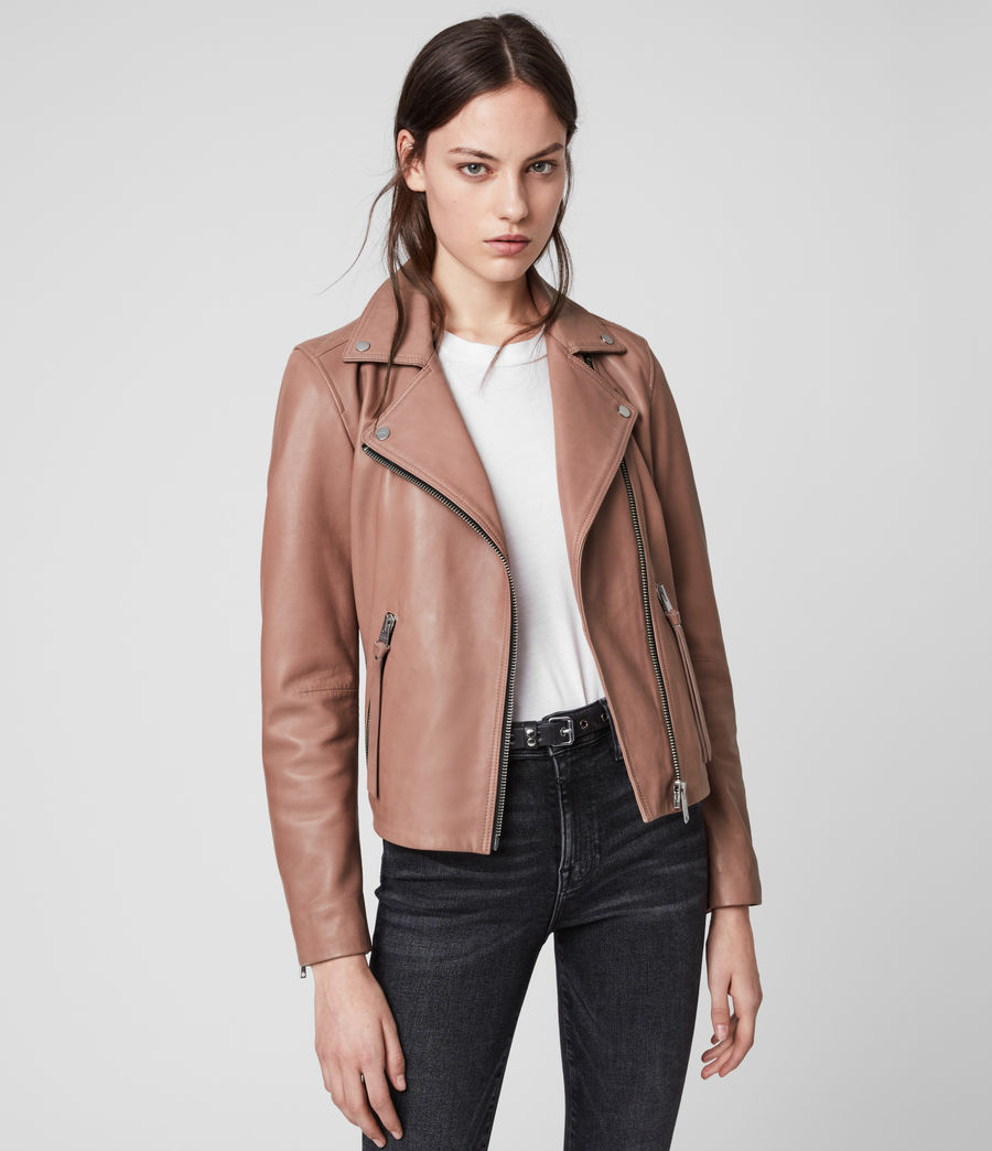 Womens Dalby Leather Biker Jacket (vintage_rose_pink) - Image 4