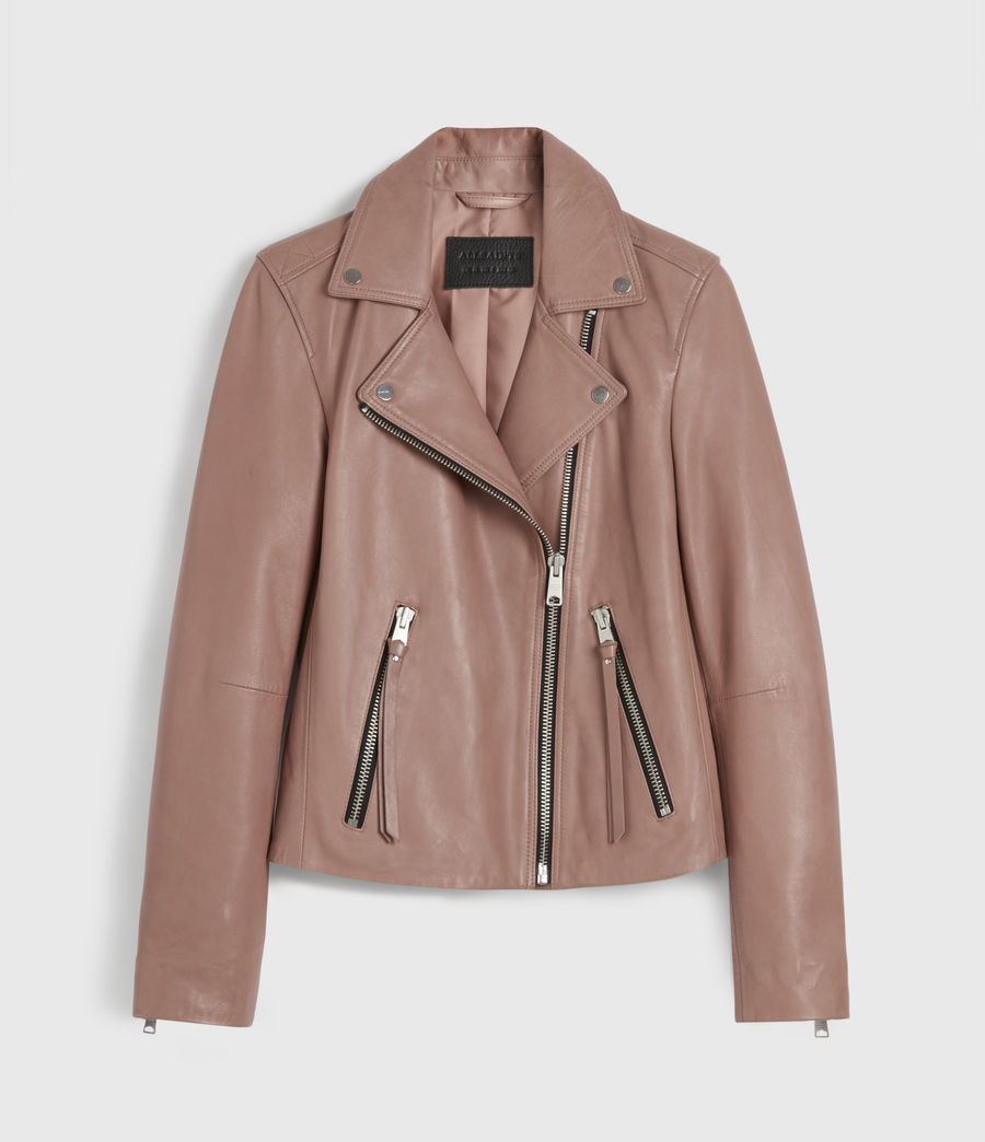Womens Dalby Leather Biker Jacket (vintage_rose_pink) - Image 7