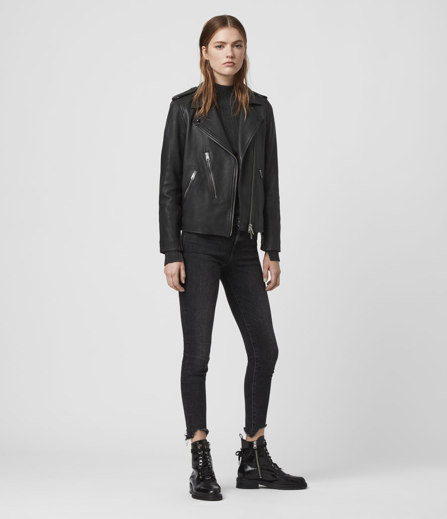 Women's Elva Leather Biker Jacket (black) - Image 3