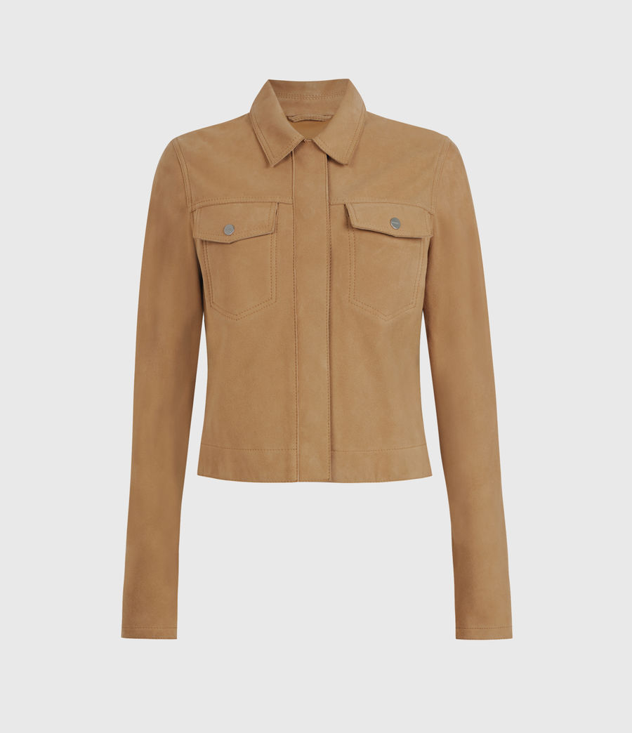 Women's Zaria Suede Jacket (tan_brown) - Image 1