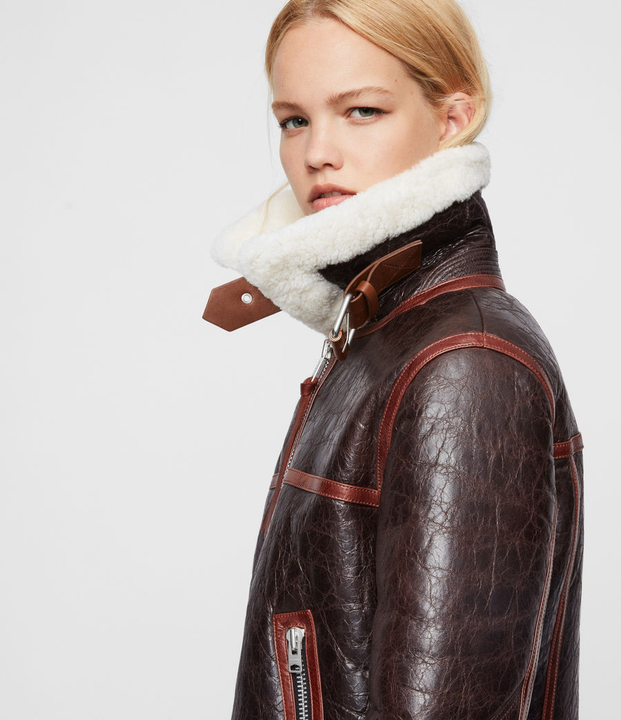 Women's Elder Shearling Biker Jacket (chocolate_mahogany) - Image 2