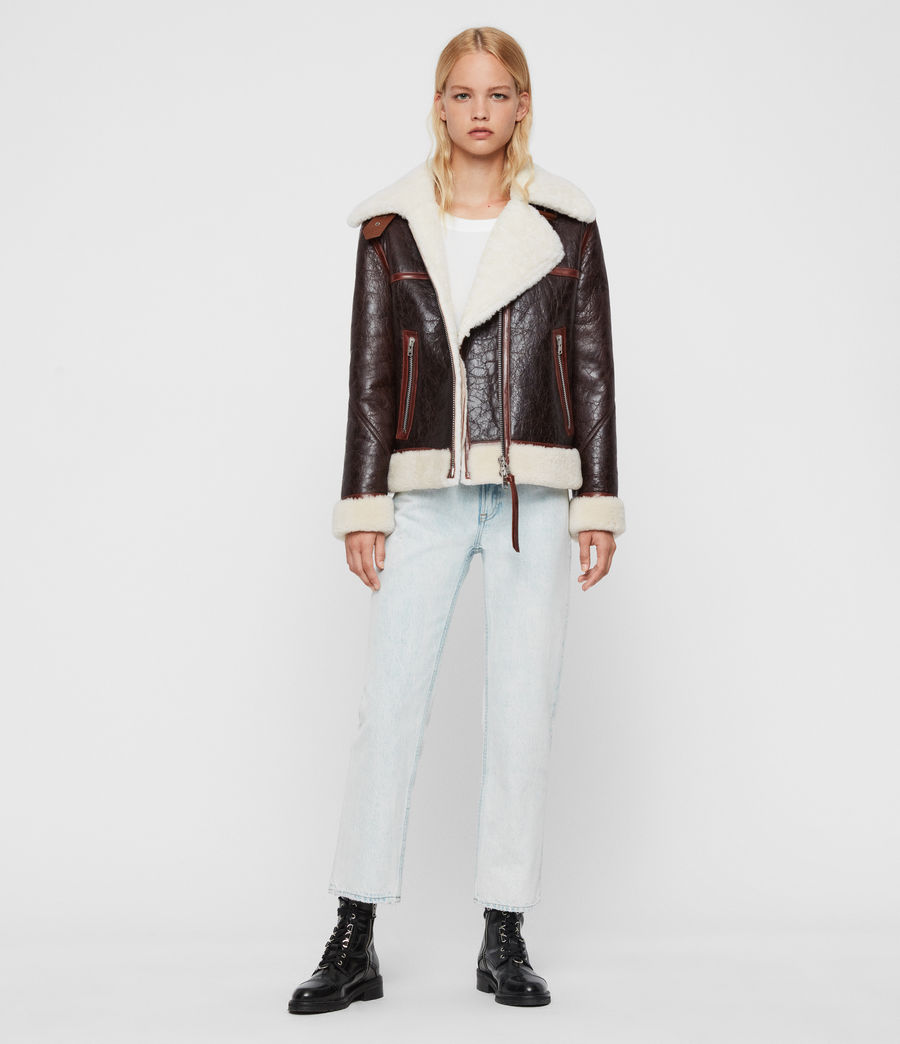 Women's Elder Shearling Biker Jacket (chocolate_mahogany) - Image 3