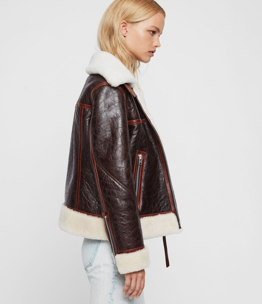 Womens Elder Shearling Biker Jacket (chocolate_mahogany) - Image 4