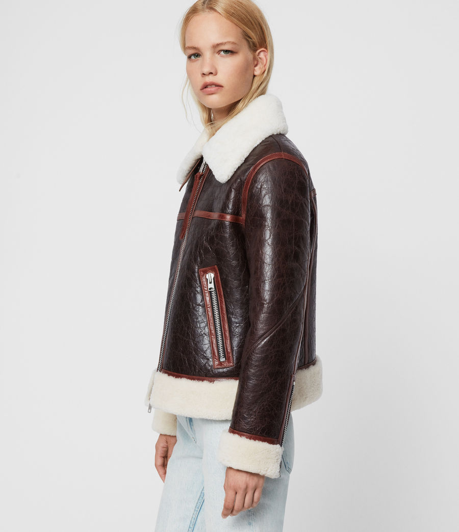 Women's Elder Shearling Biker Jacket (chocolate_mahogany) - Image 5