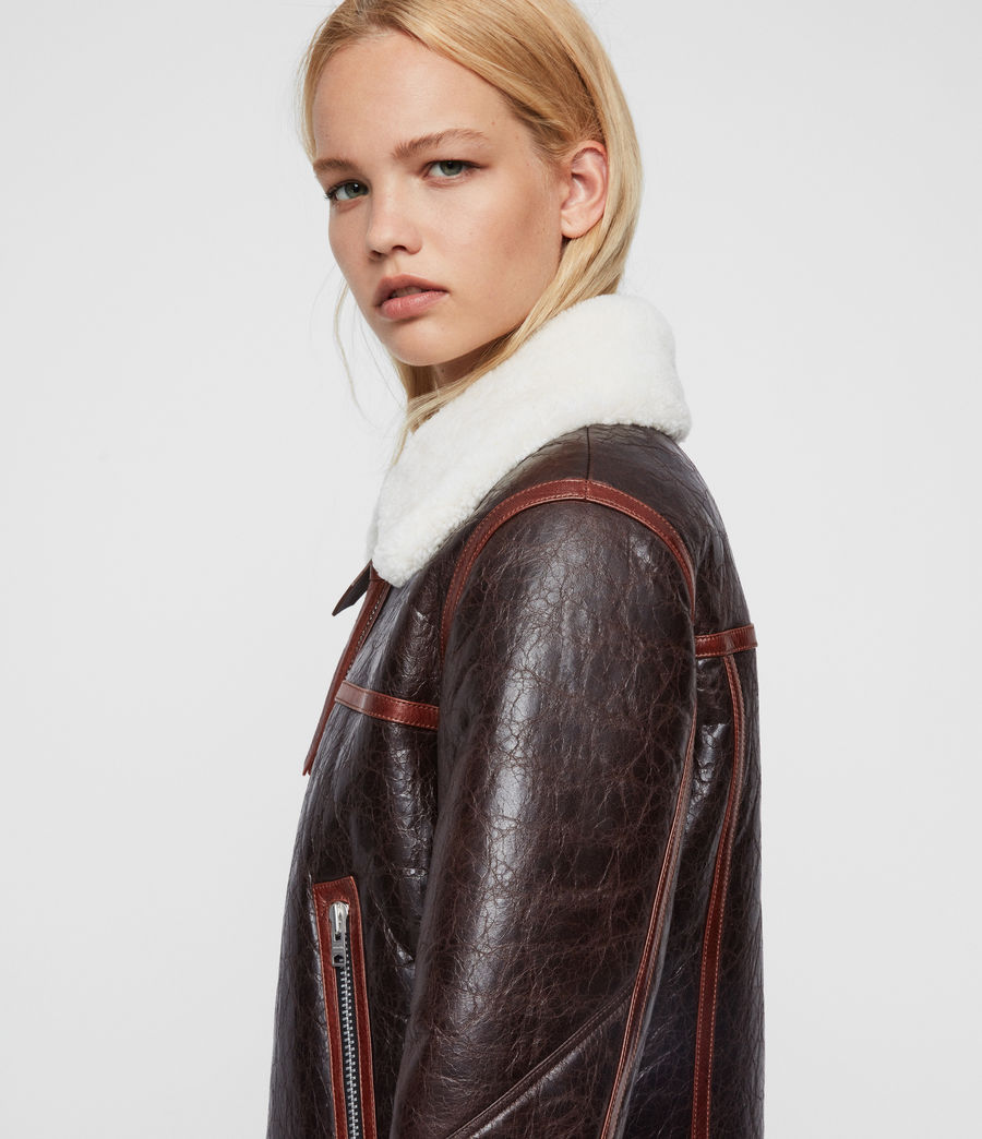 Women's Elder Shearling Biker Jacket (chocolate_mahogany) - Image 6