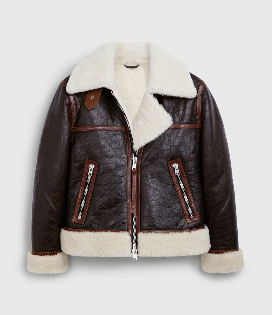 Women's Elder Shearling Biker Jacket (chocolate_mahogany) - Image 8