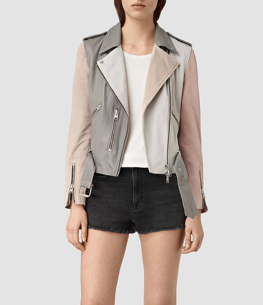 Womens Murray Leather Biker Jacket (grey_pale_pink_ice) - Image 1