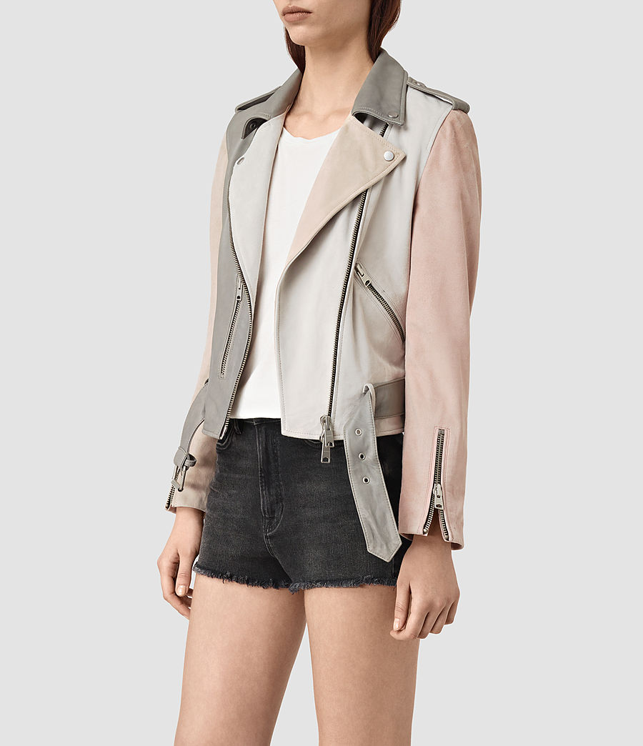 Womens Murray Leather Biker Jacket (grey_pale_pink_ice) - Image 3