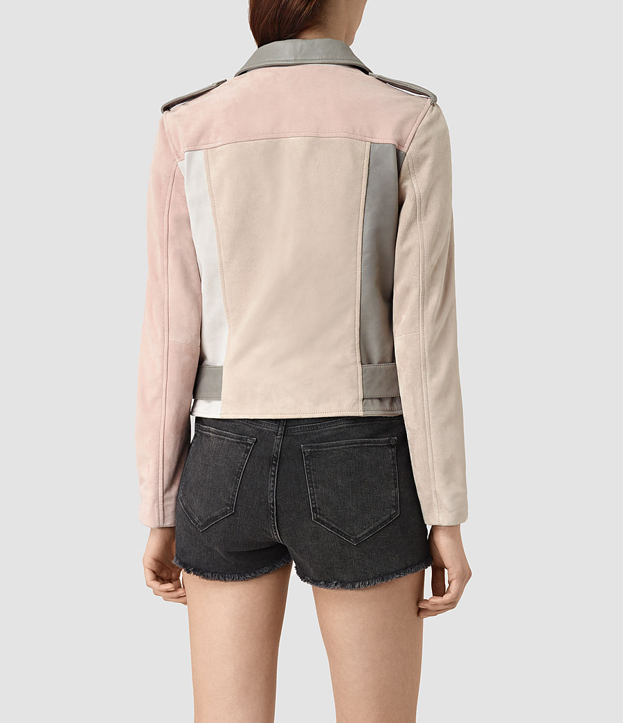 Womens Murray Leather Biker Jacket (grey_pale_pink_ice) - Image 4