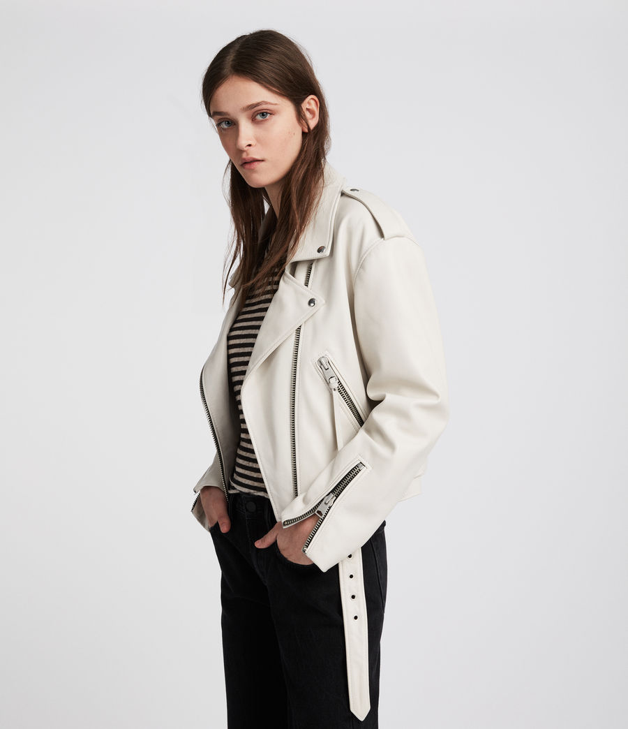 Womens Anderson Leather Biker Jacket (white) - Image 1