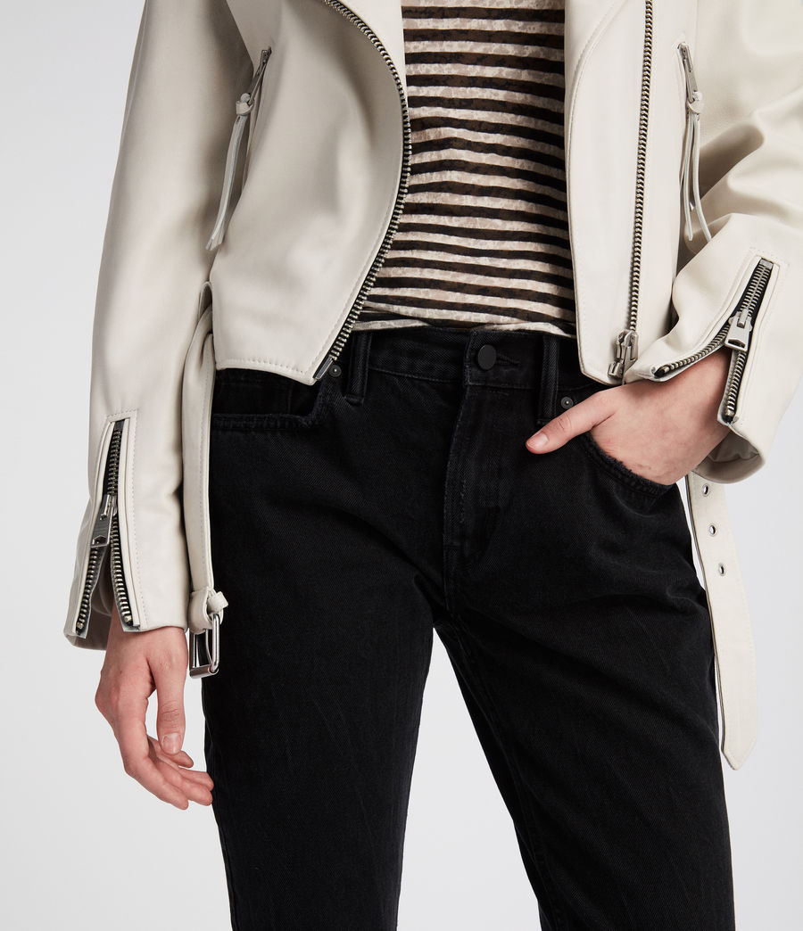 Womens Anderson Leather Biker Jacket (white) - Image 5