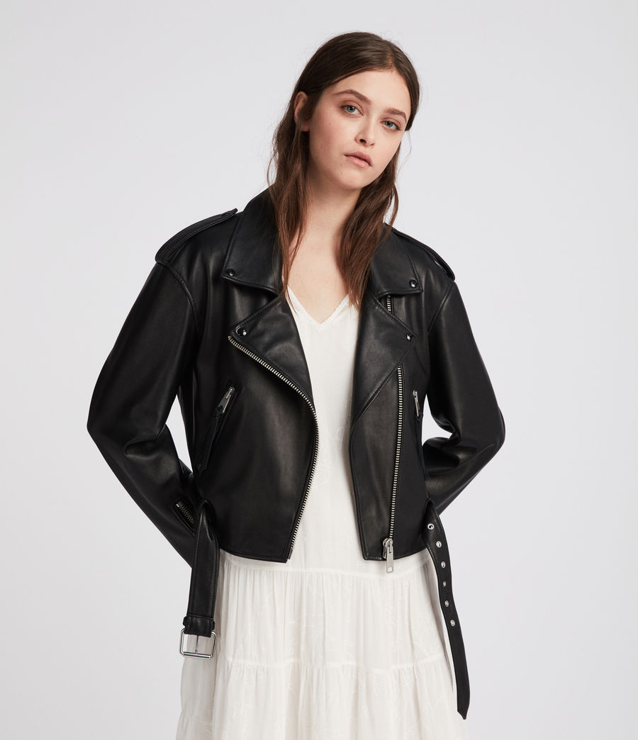 Womens Anderson Leather Biker Jacket (black) - Image 1
