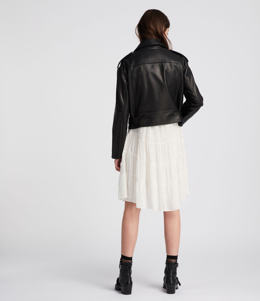 Womens Anderson Leather Biker Jacket (black) - Image 3