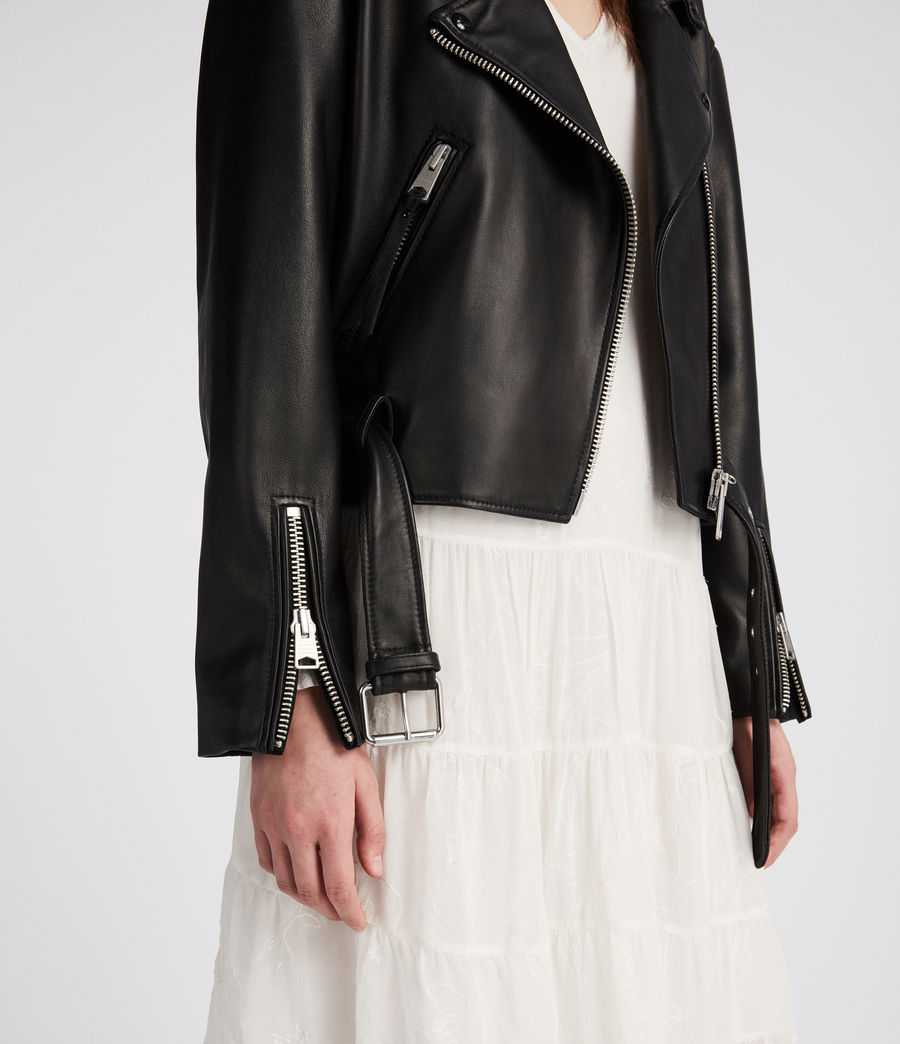 Womens Anderson Leather Biker Jacket (black) - Image 4