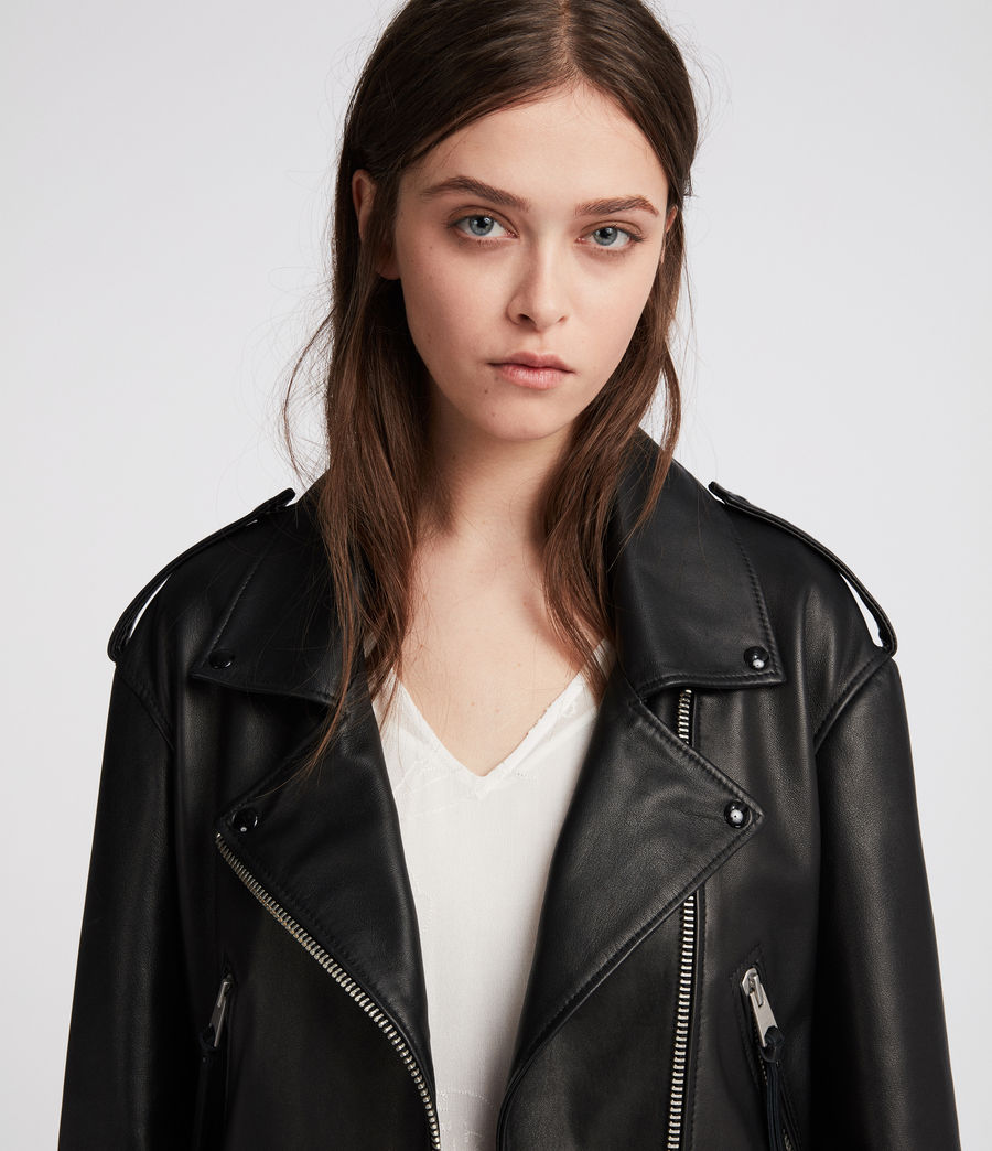 Womens Anderson Leather Biker Jacket (black) - Image 5