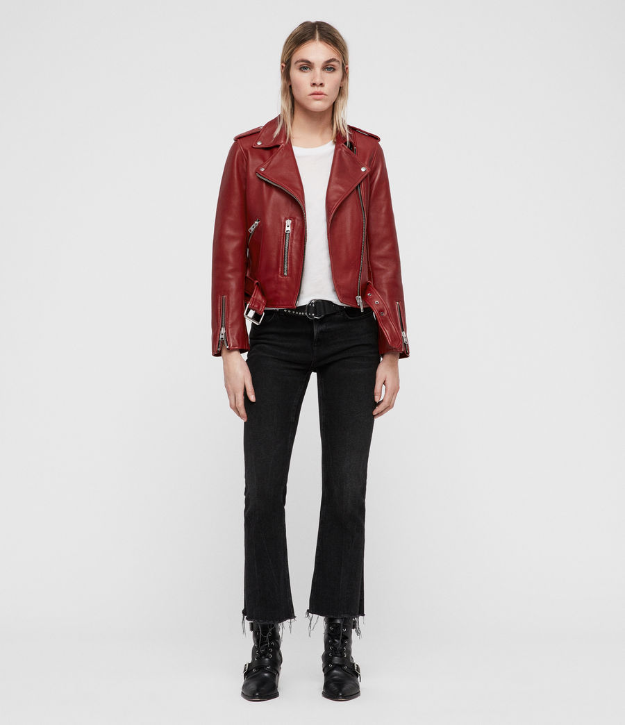 Women's Balfern Leather Biker Jacket (vintage_pink) - Image 1