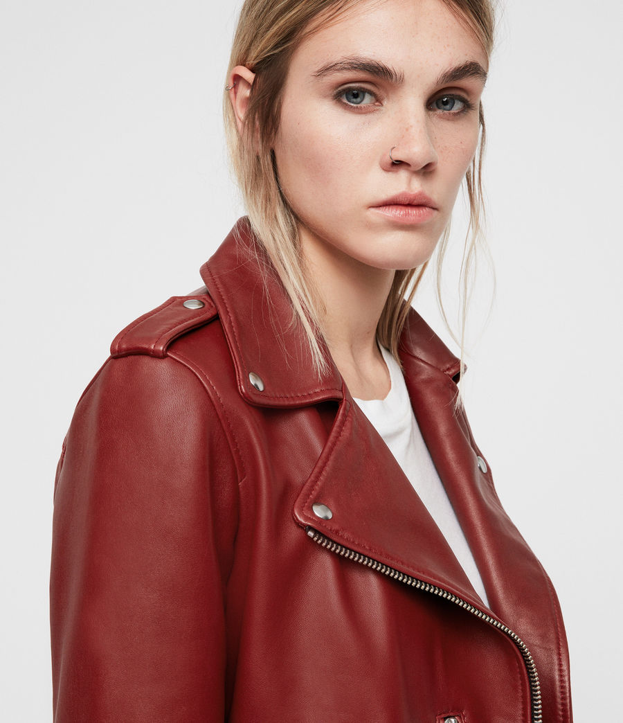 Women's Balfern Leather Biker Jacket (vintage_pink) - Image 2
