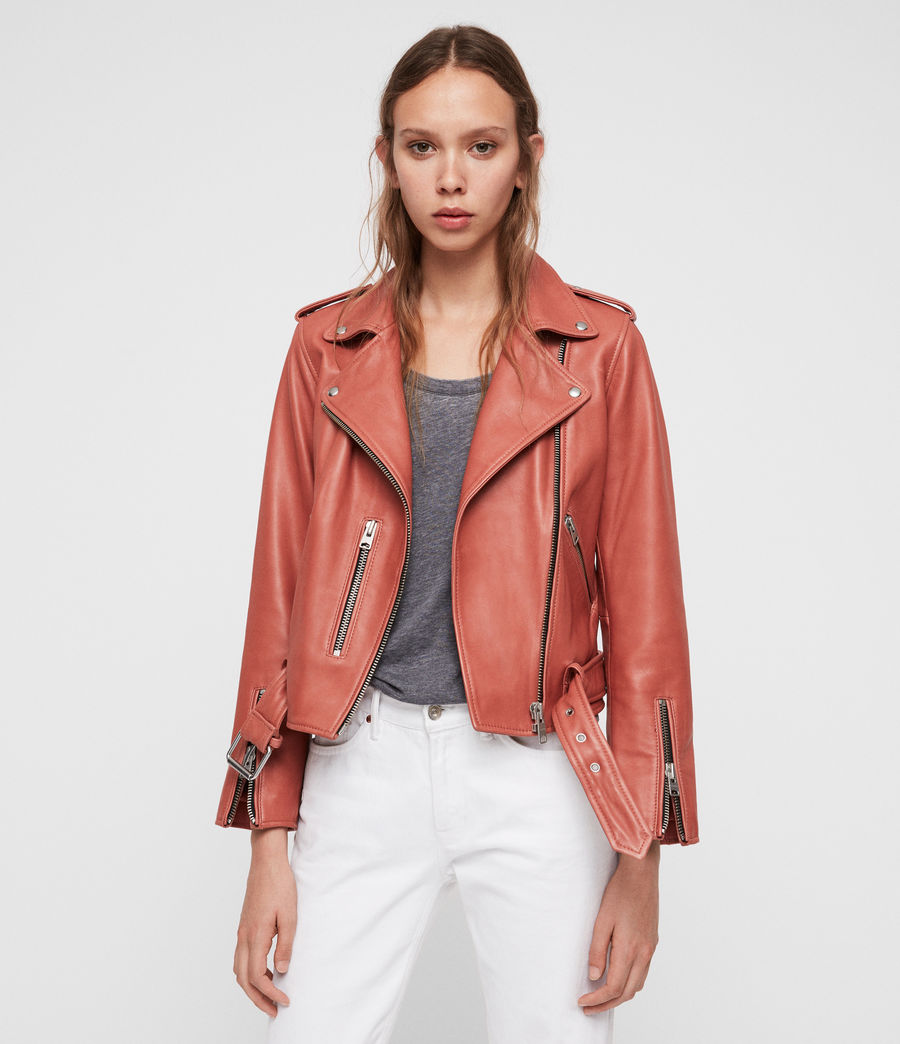 Womens Balfern Leather Biker Jacket (vintage_pink) - Image 1