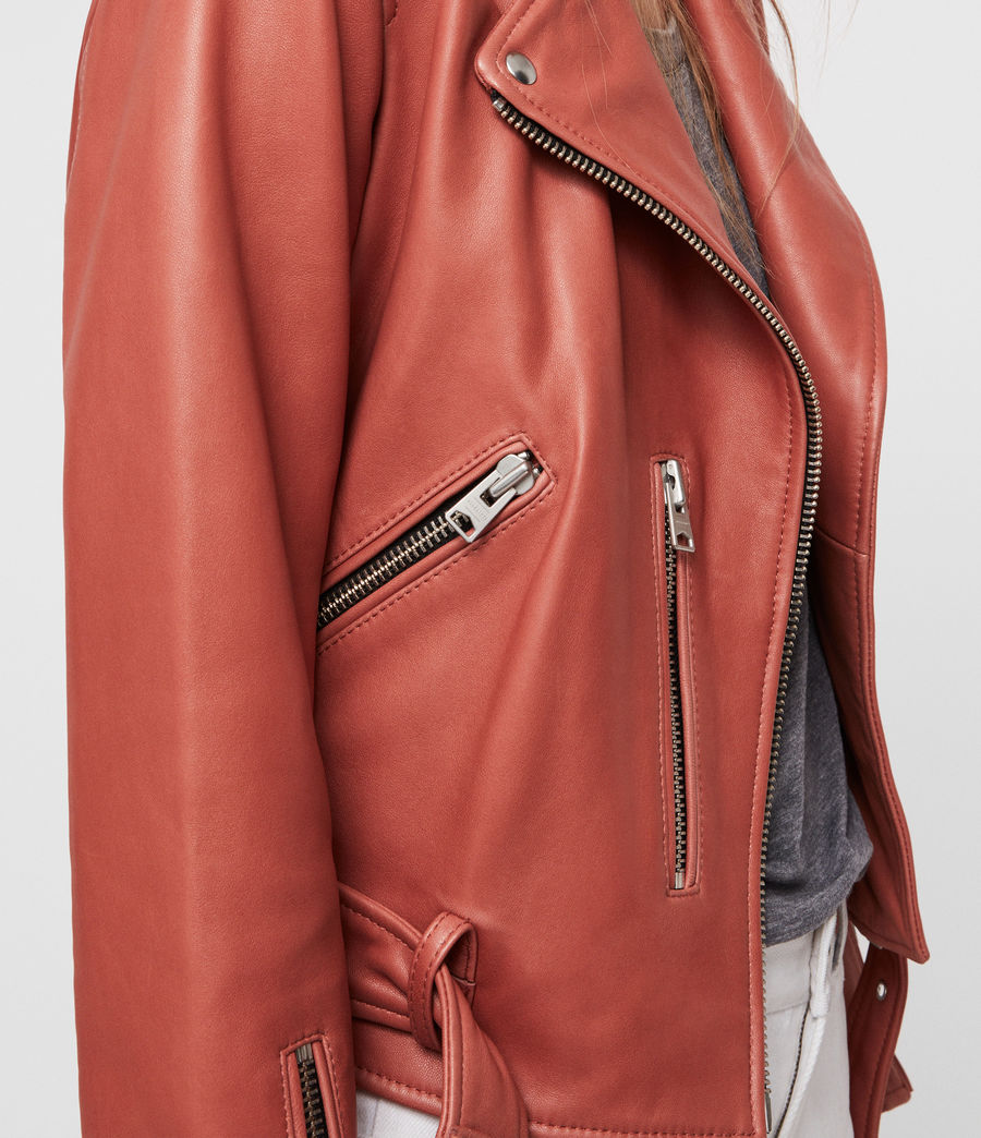 Womens Balfern Leather Biker Jacket (vintage_pink) - Image 2