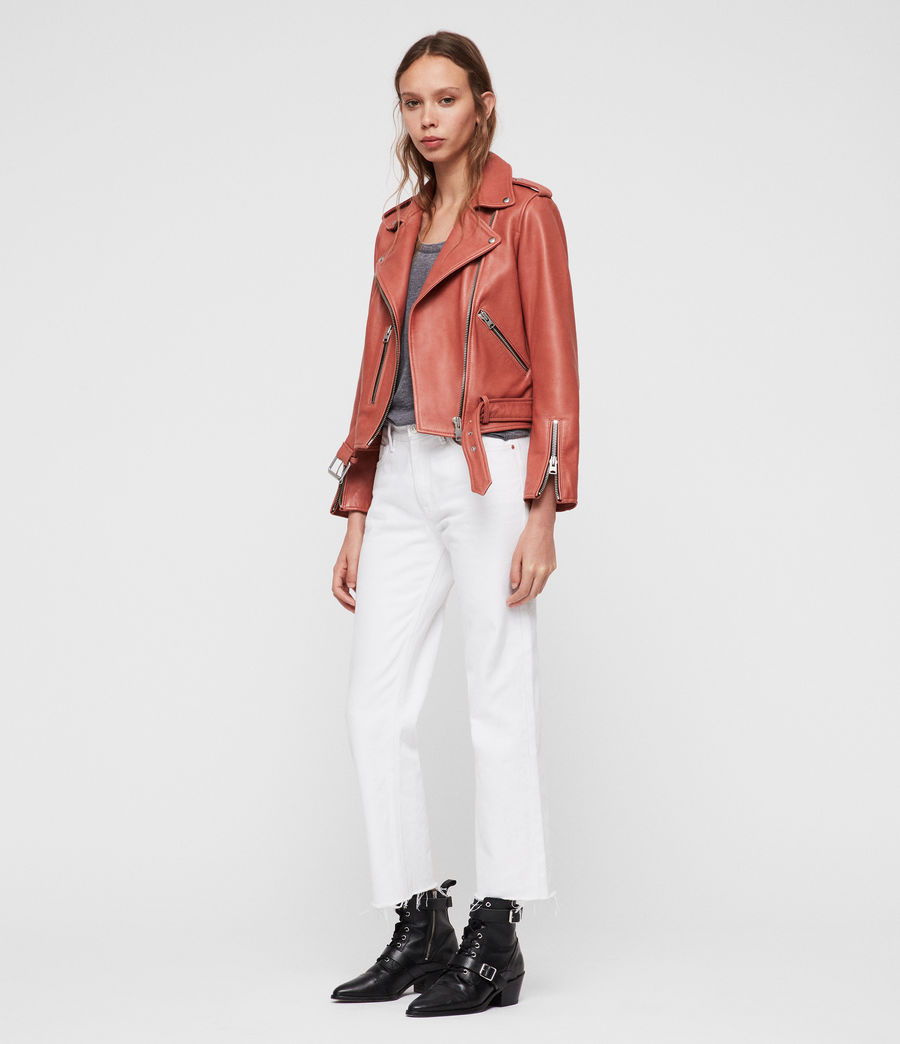 Women's Balfern Leather Biker Jacket (vintage_pink) - Image 3