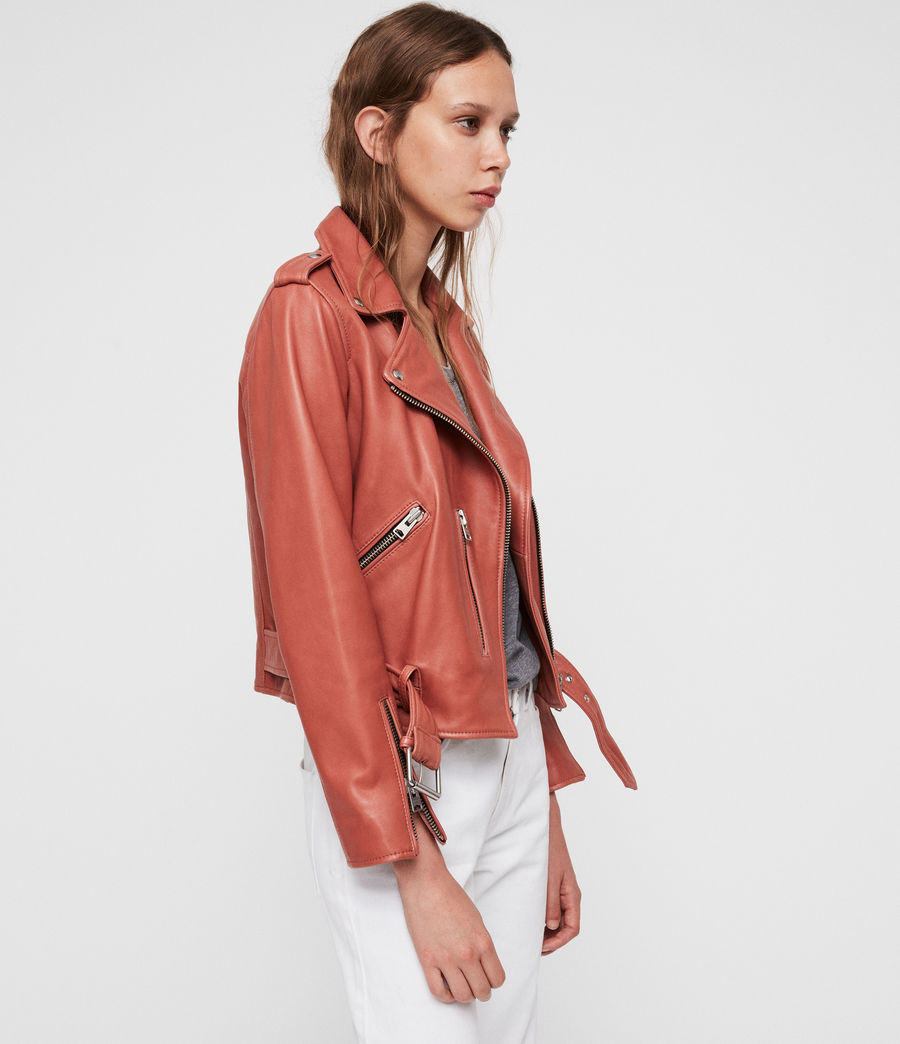 Women's Balfern Leather Biker Jacket (vintage_pink) - Image 4