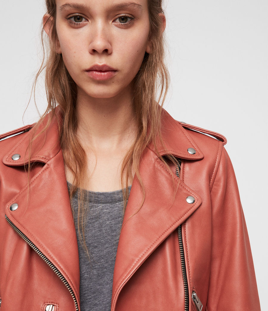 Women's Balfern Leather Biker Jacket (vintage_pink) - Image 5