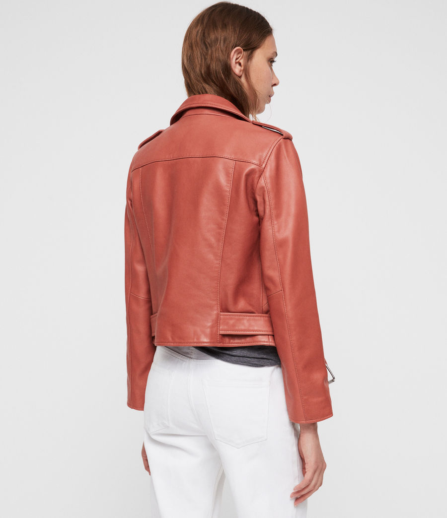 Women's Balfern Leather Biker Jacket (vintage_pink) - Image 6