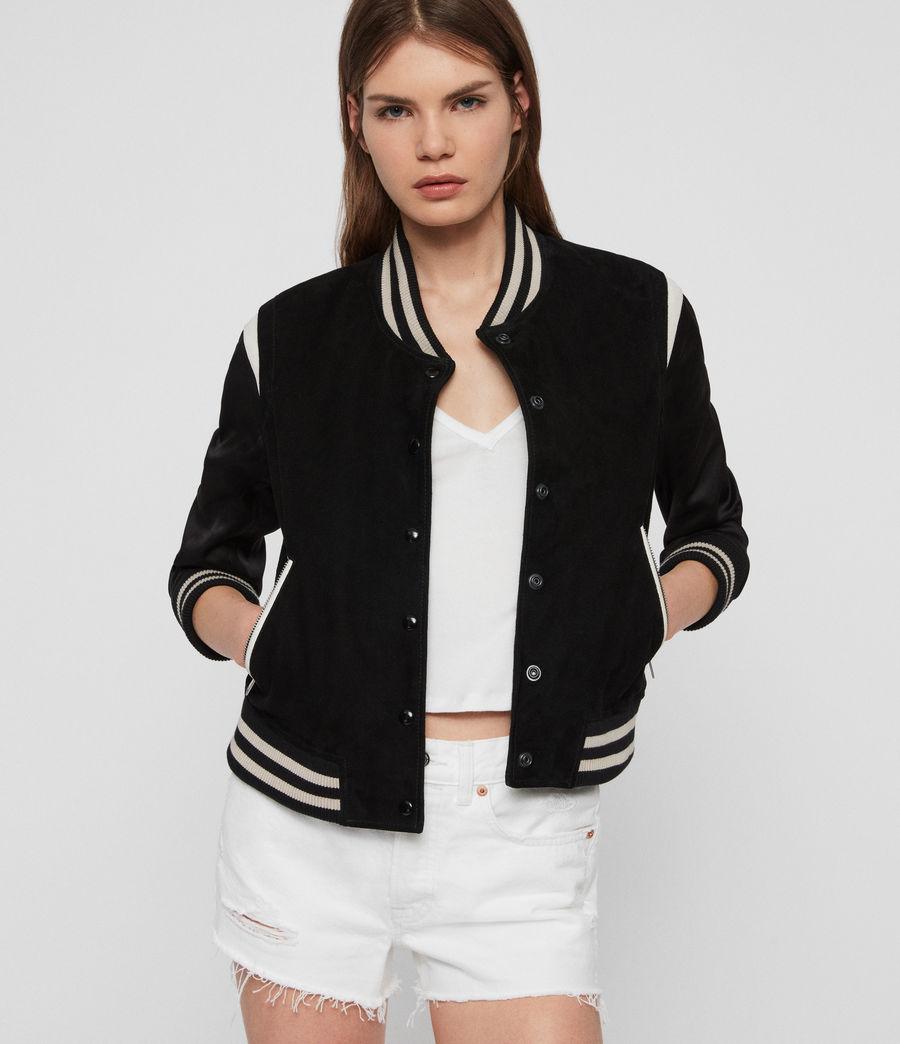 Womens Keiko Suede Bomber Jacket (black_white) - Image 1